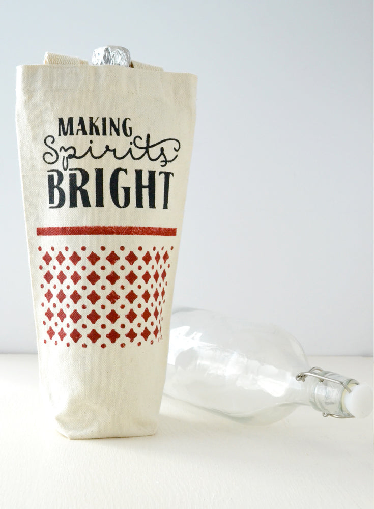 Making Spirits Bright Beverage Canvas Tote Gift Bag