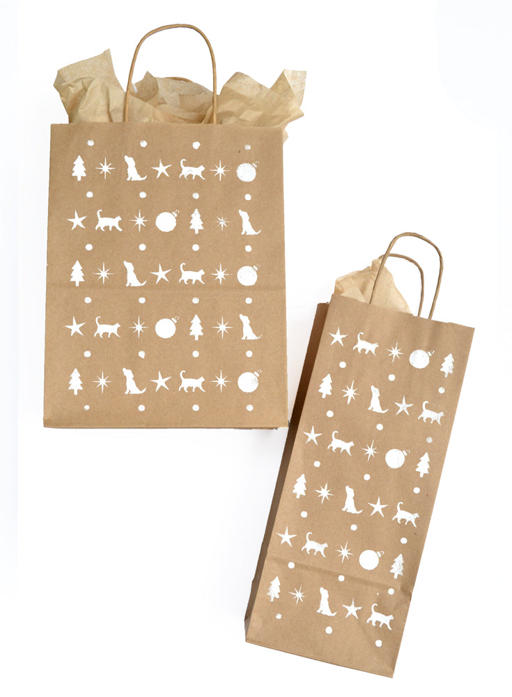Holiday Wine Gift Bag Set - White Stencil on Kraft - Christmas ...