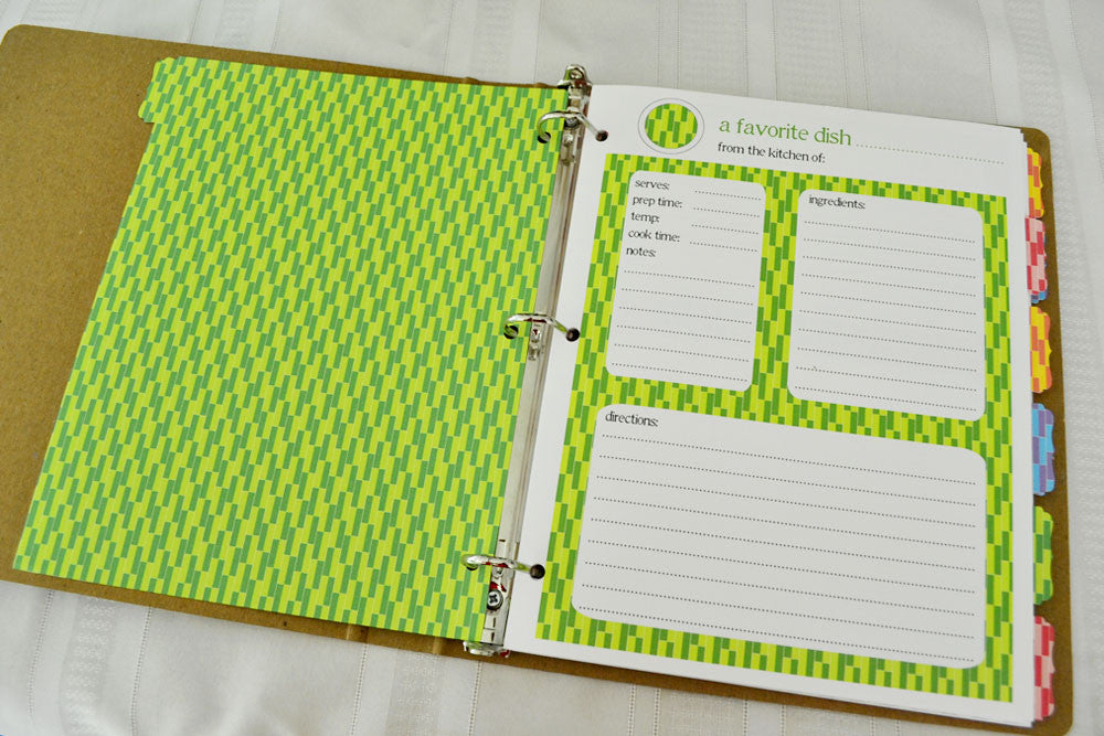 Recipe Binder Card Refills - Additional Full Page Recipe Card Sets ...