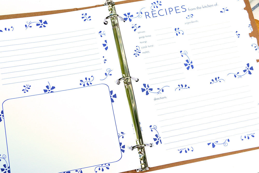 Recipe Binder Card Refills - Additional Full Page Recipe Card Sets for your Recipe Binder in Royal Design