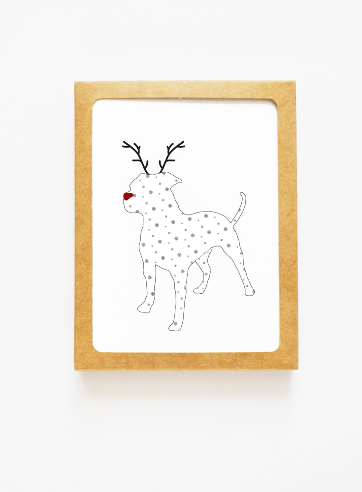 Holiday American Bulldog Reindeer Card