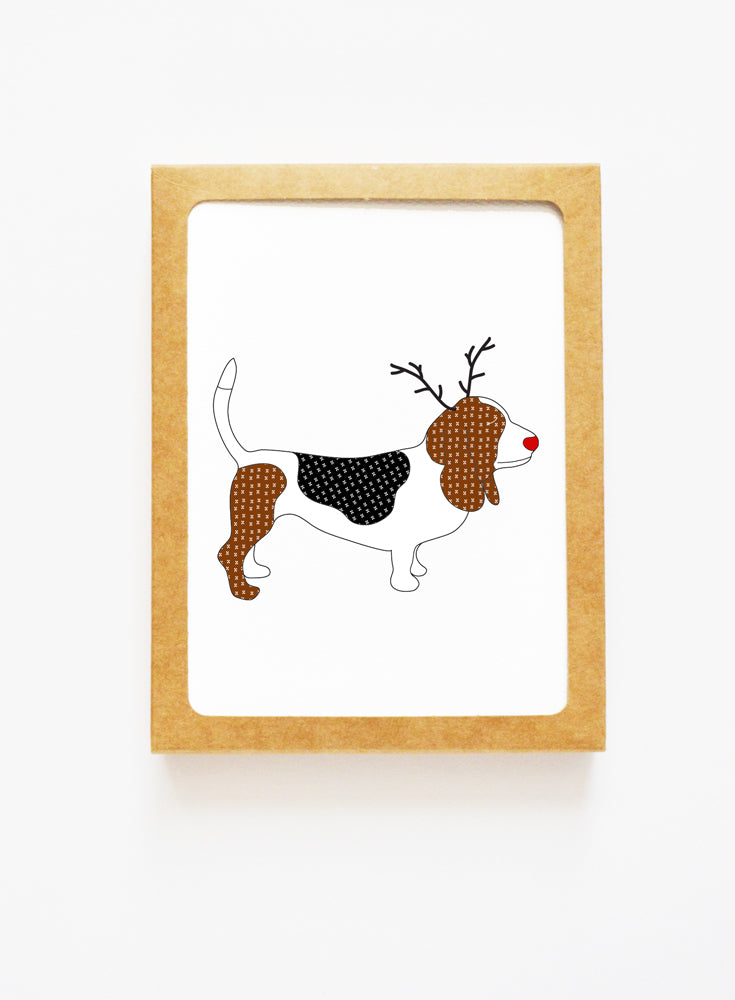 Holiday Basset Hound Reindeer Card