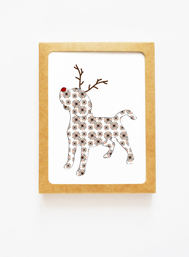 Holiday Beagle Reindeer Card