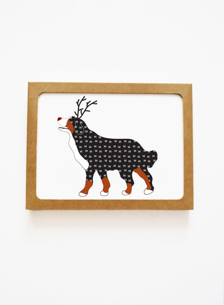 Holiday Bernese Mt Dog Reindeer Card