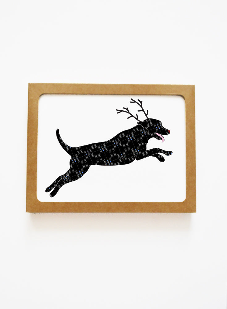 Holiday Black Lab Reindeer Card