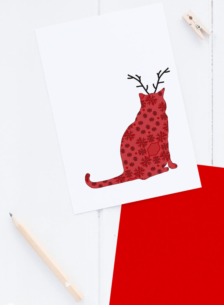 Holiday Brocade Cat Reindeer Card