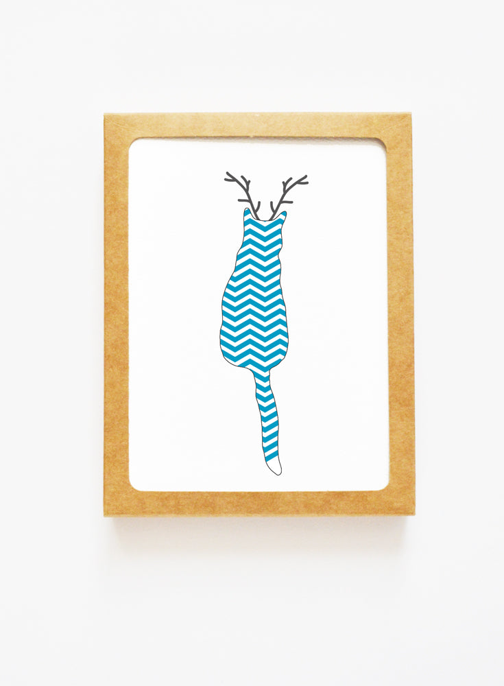 Holiday Chevron Cat Reindeer Card