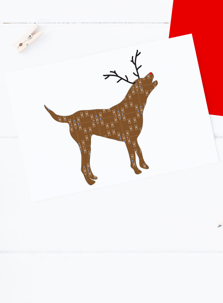 Holiday Chocolate Lab or Chessie Reindeer Card