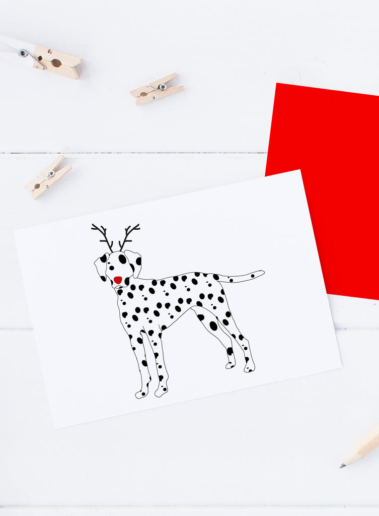 Holiday Dalmatian Reindeer Card