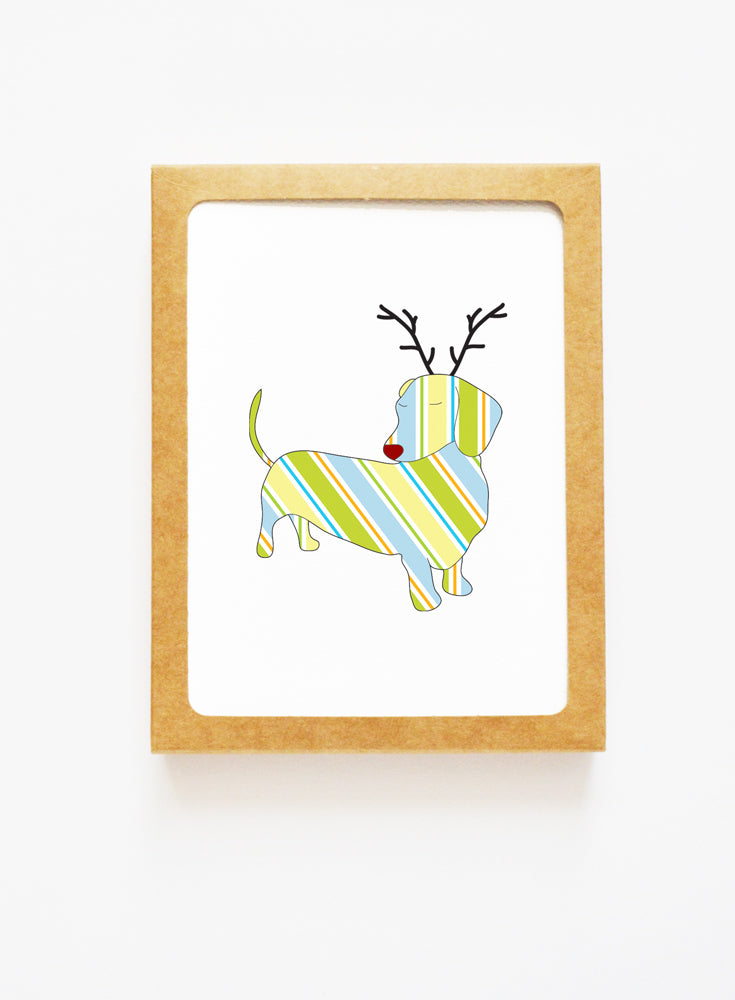 Holiday Dachshund Reindeer Card