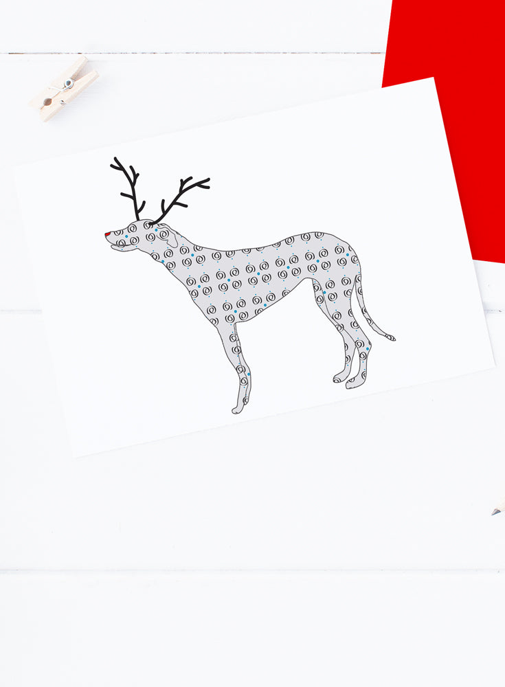 Holiday Greyhound Reindeer Card