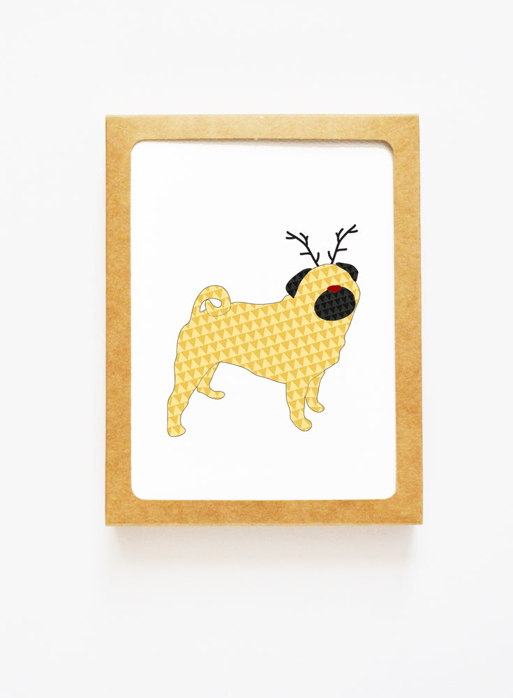 Holiday Pug Dog Reindeer Card