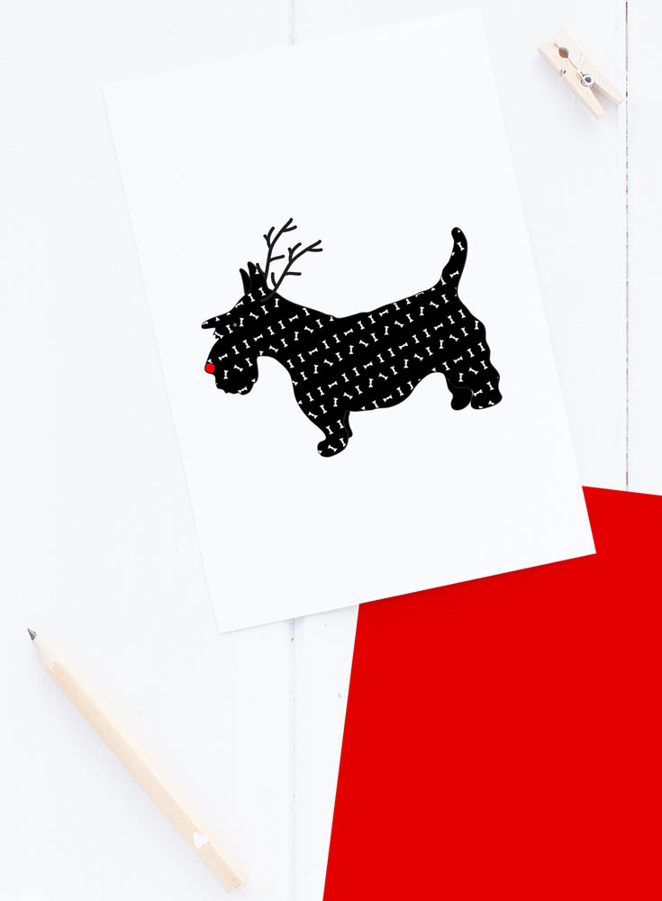 Holiday Scotty Dog Reindeer Card