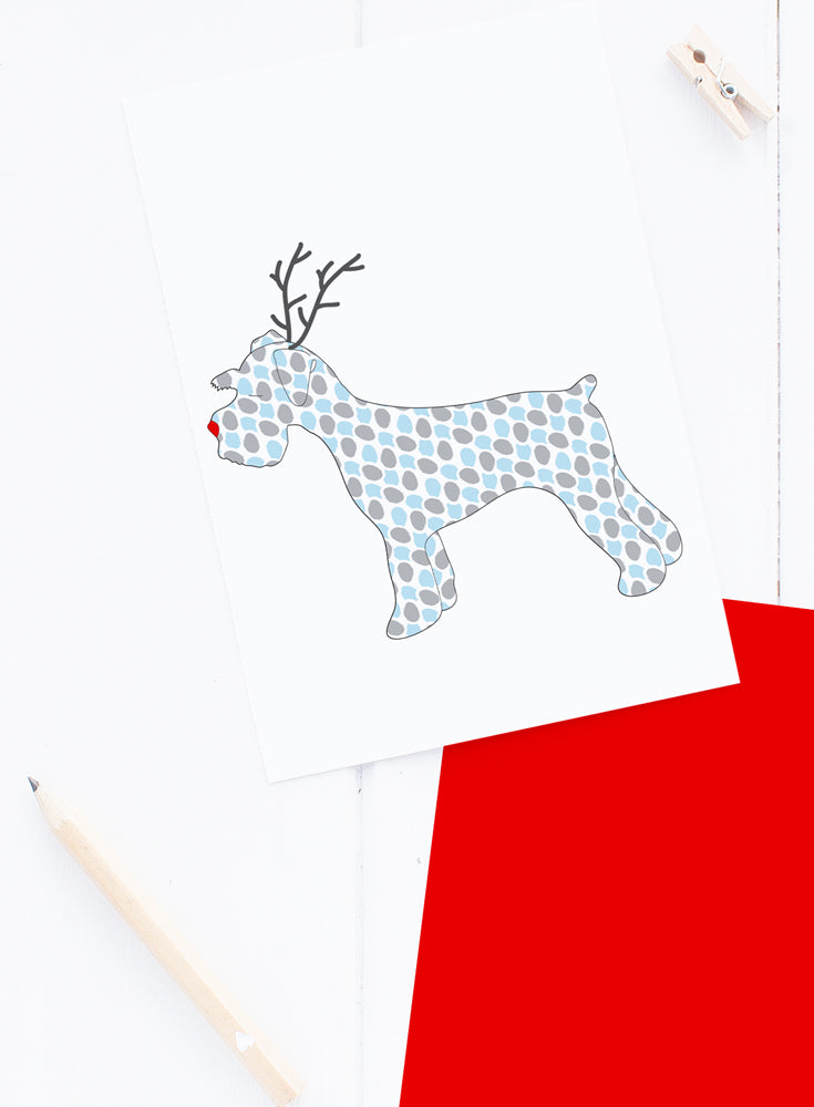 Holiday Schnauzer Reindeer Card