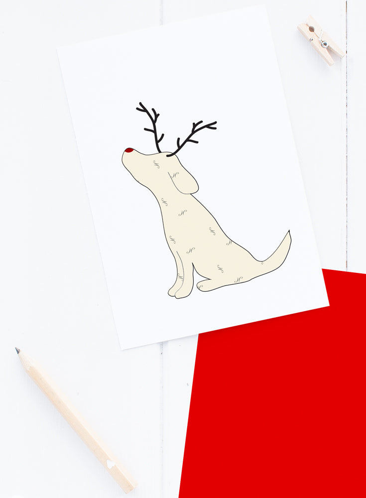 Holiday Yellow Lab Reindeer Card