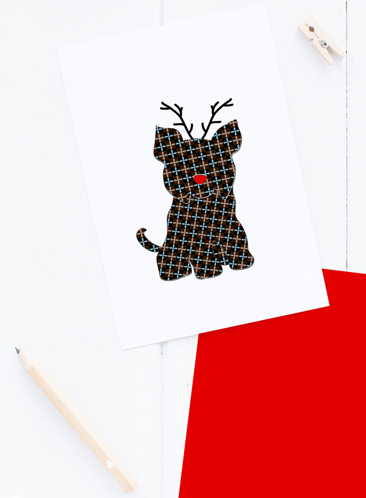 Holiday Yorkie Reindeer Card