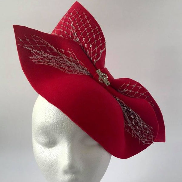 Red Sparkly felt Fascinator
