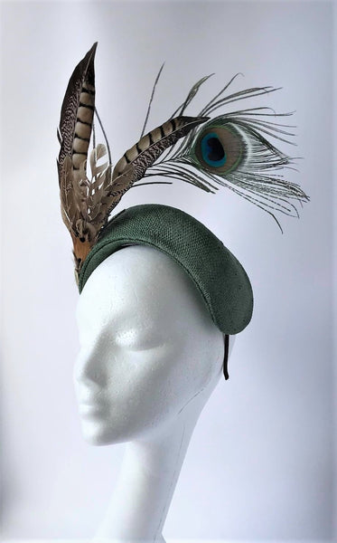 Green Pheasant and peacock halo fascinator