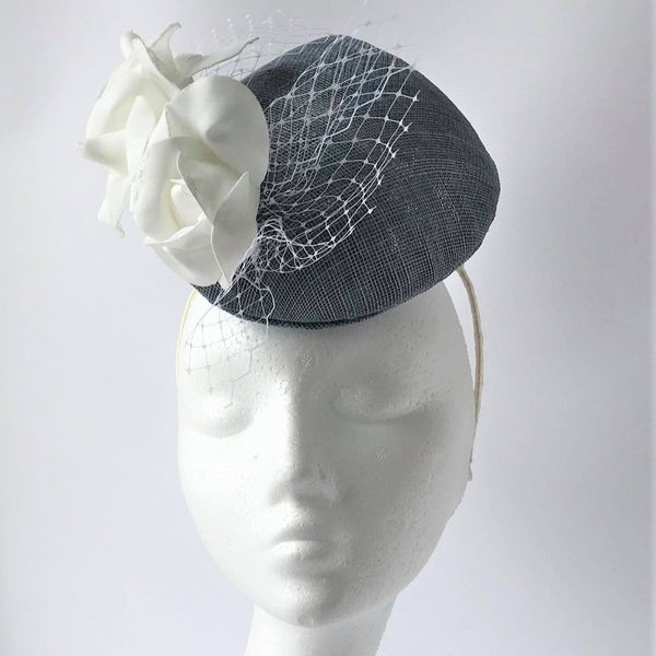 Airforce Blue Percher with White Roses Fascinator