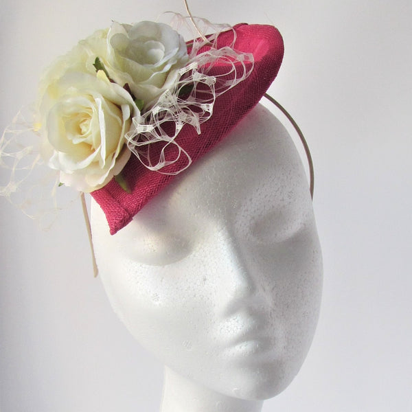 Small Teardrop fascinator with ivory roses