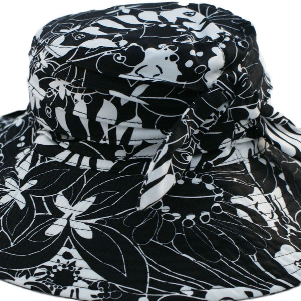 Woman's material wide brim sun hat