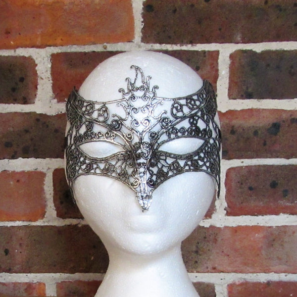 Silver Fox Lace Masquerade Mask