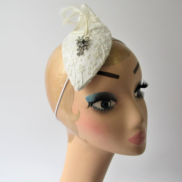 Floral Bridal teardrop with biot feathers and brooch