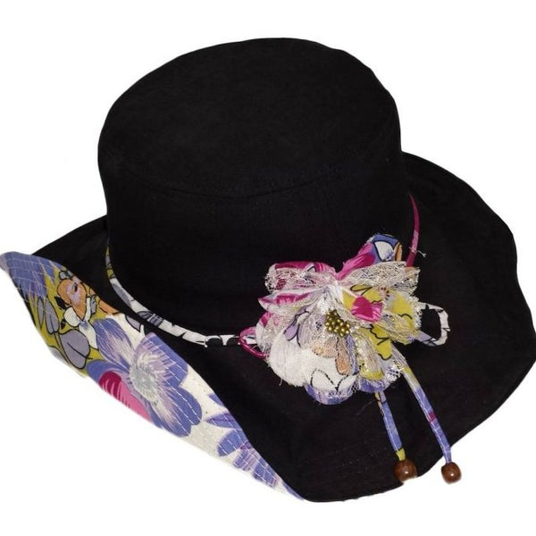 Women's Summer Beach Sun Hat With Flower