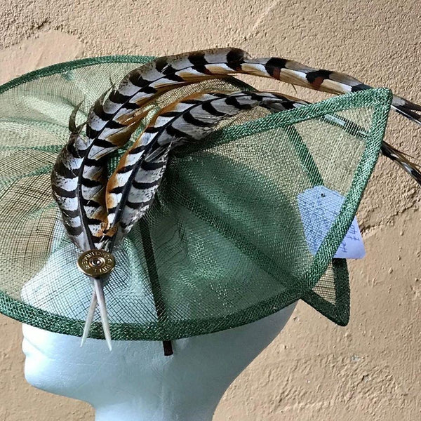 Split disc fascinator with pheasant feathers