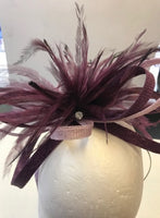 Small two tone bow fascinator with feathers and diamante stones