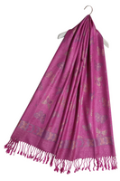 Metallic Thread Butterfly Print Pashmina Tassel Scarf (various colours)