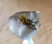 Gold shimmer and duck egg blue swirl hatinator with feathers