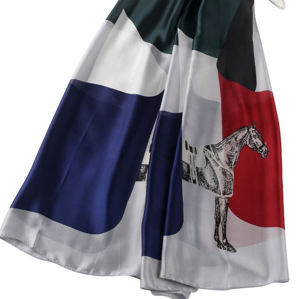 Grey Block Horse Print Silk Scarf
