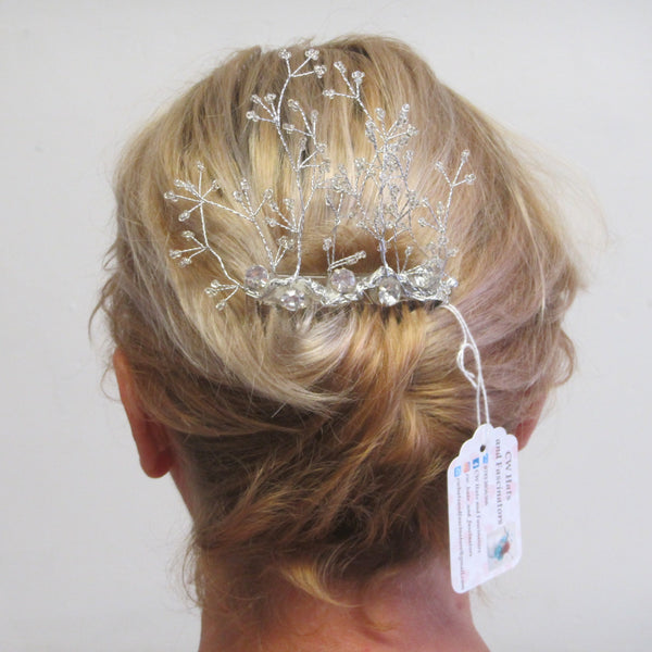 Beaded seed hairpiece with Dalmonte on a comb