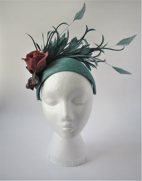 Jade Halo with feathers and rose fascinator