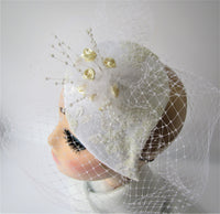 Bridal teardrop with flowers and netting