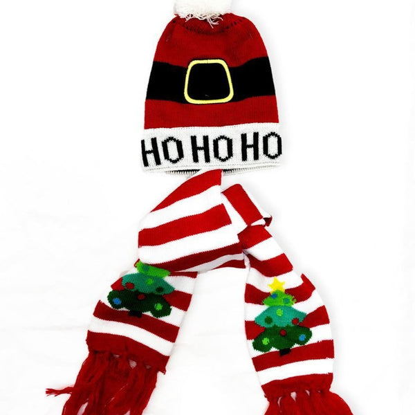 Kid's Santa Bobble Hat & Scarf Set