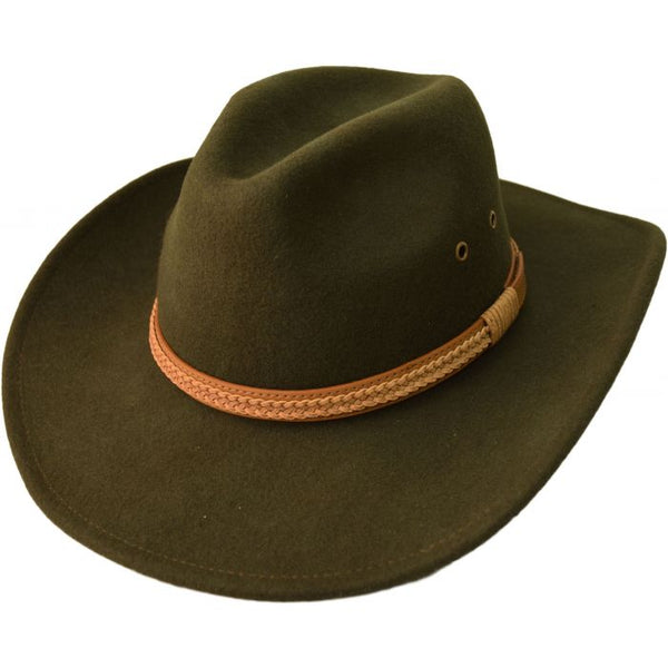 Olive Green Wool Cowboy Hat