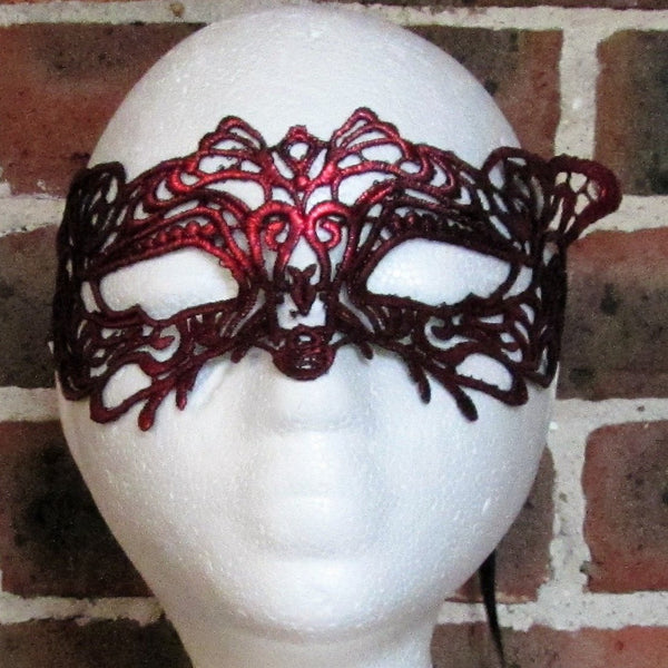 Red Fox Lace Masquerade Mask