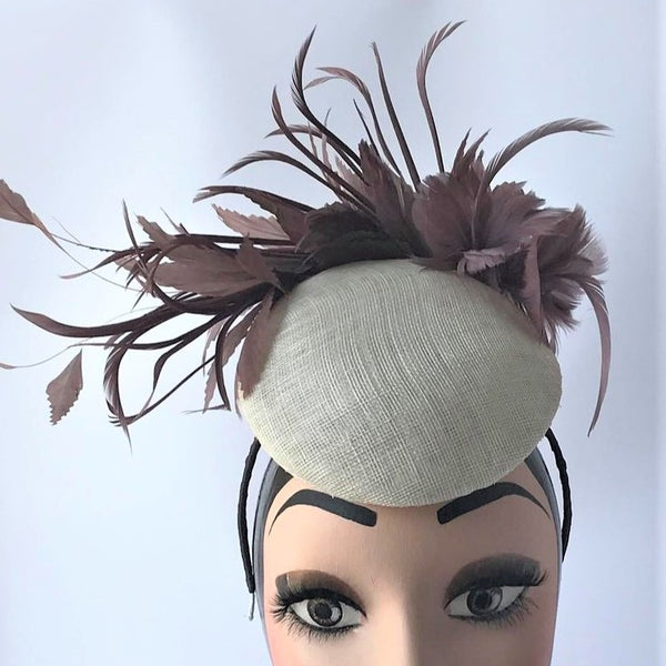 Ivory Percher Fascinator with Latte Feather Detail