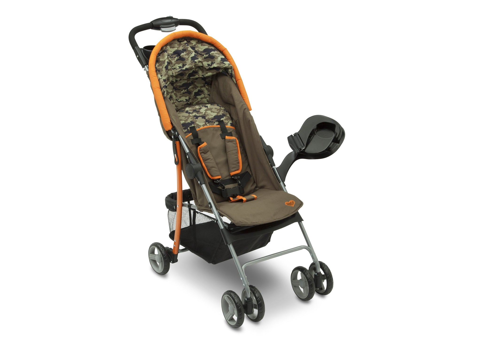 Delta Children Green Camo with Orange Accents (346) Right Side View, with Canopy and Child Tray Tracks