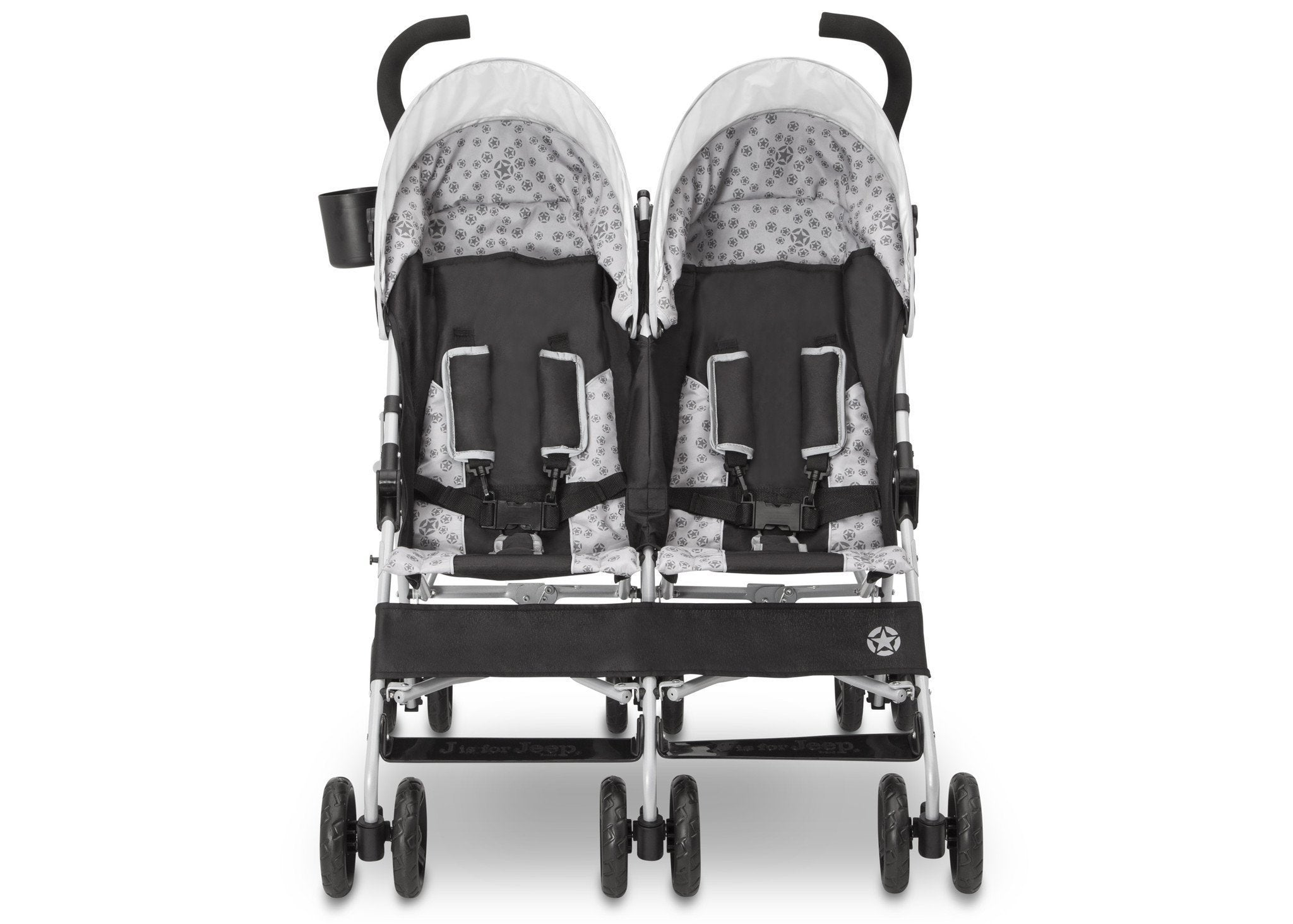 Jeep Brand Scout Double Stroller by Delta Children, Charcoal Galaxy (2271), with multi-position reclining seat