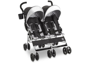 Jeep Brand Scout Double Stroller by Delta Children, Charcoal Galaxy (2271), with extendable European-style canopy