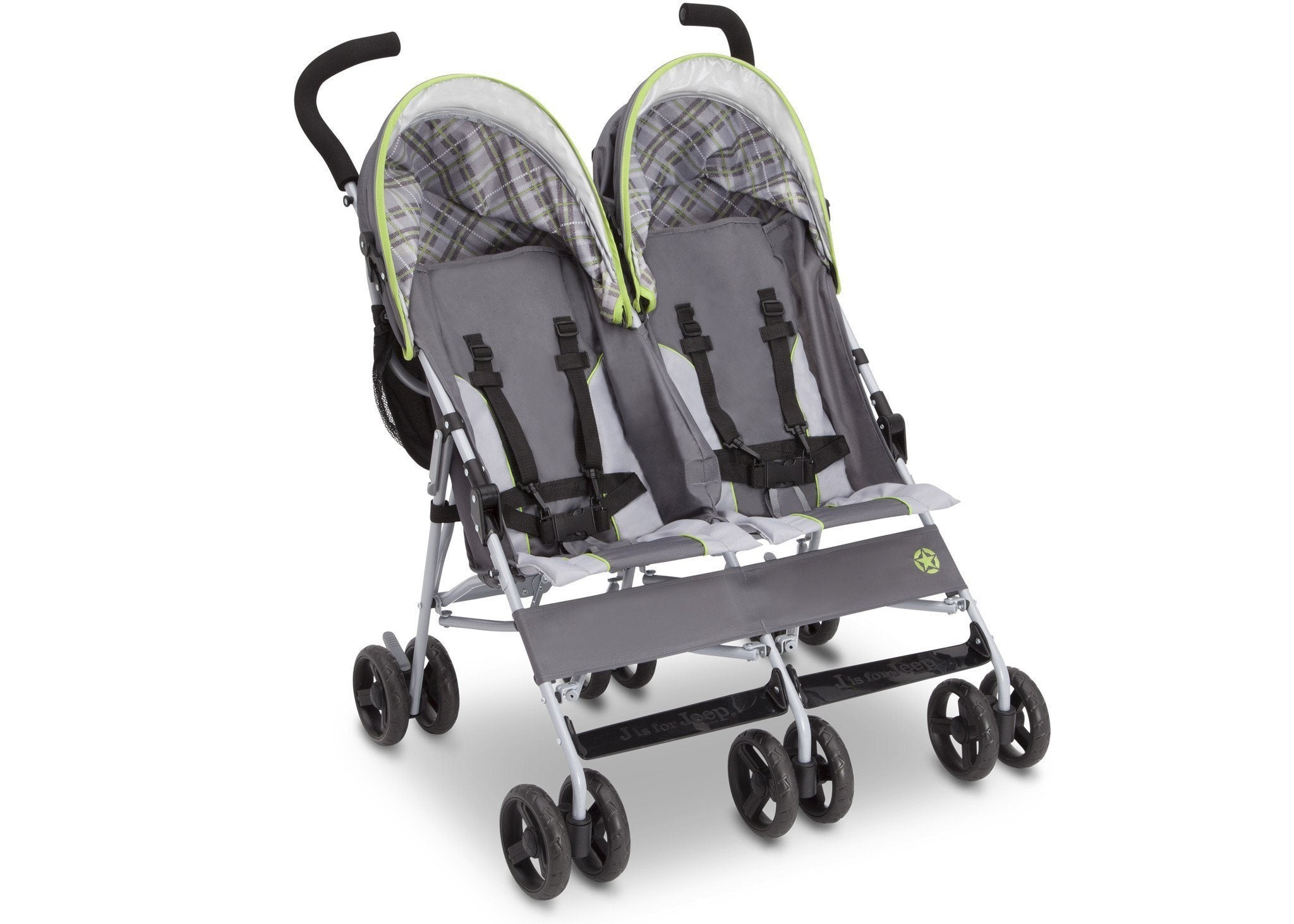 Jeep Brand Scout Double Stroller by Delta Children, Fairway (340), with multi-position reclining seat
