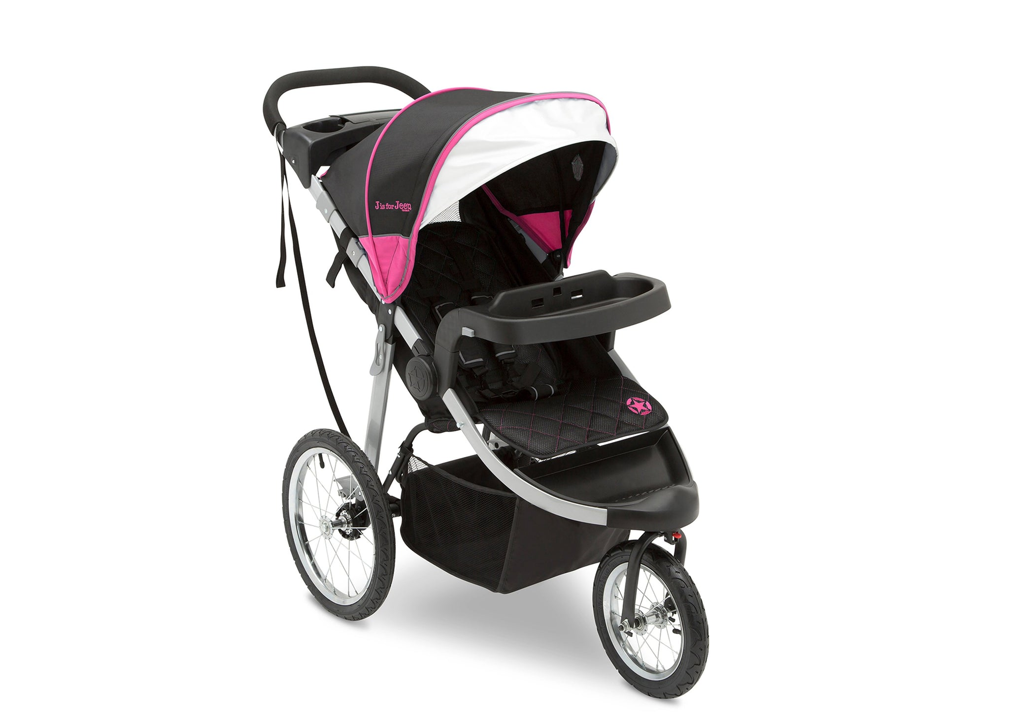 Jeep Unlimited Range Jogger by Delta Children, Trek Pink Tonal (656) with extendable European-style canopy