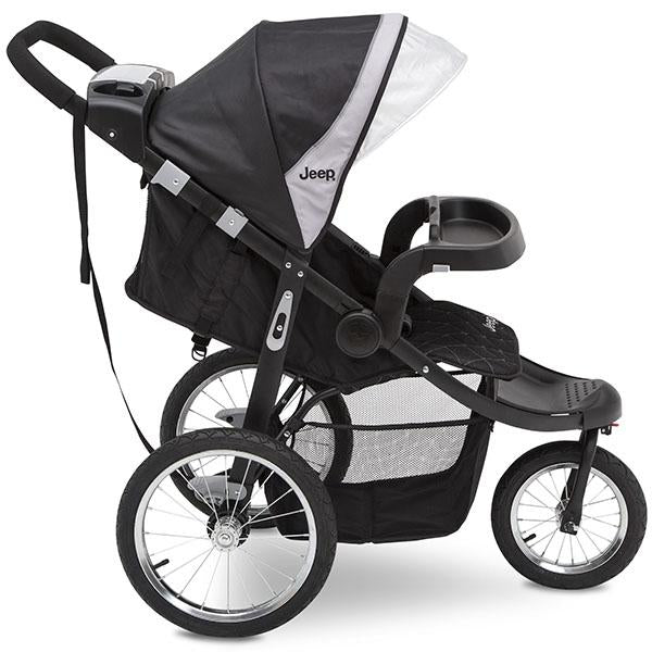Jeep® Deluxe Patriot Open Trails Jogger by Delta Children,Charcoal Tracks (0251) , Extendable canopy with UPF 50+ sun