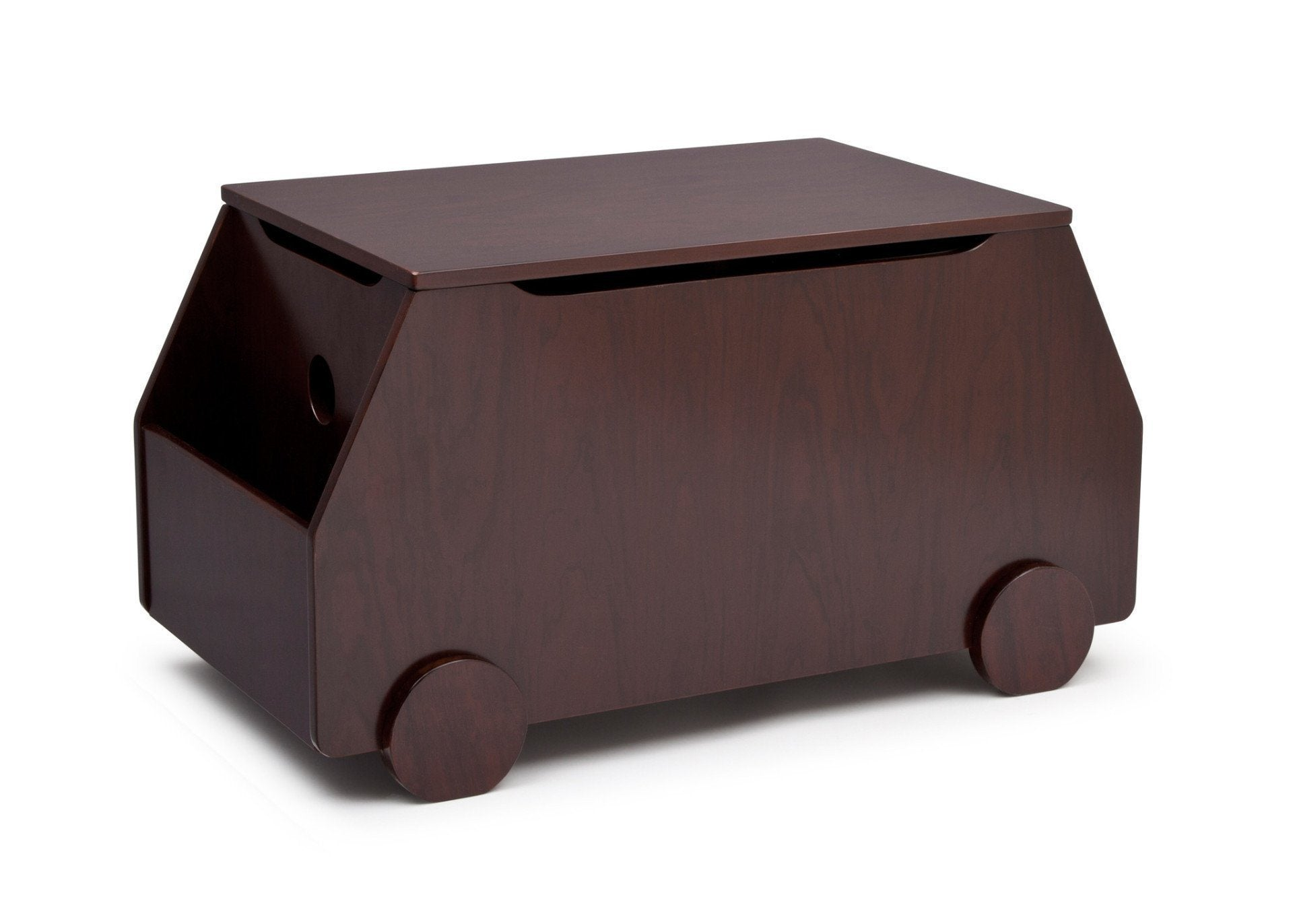 Delta Children Black Cherry Espresso (607) Metro Toy Box Left Side View b1b