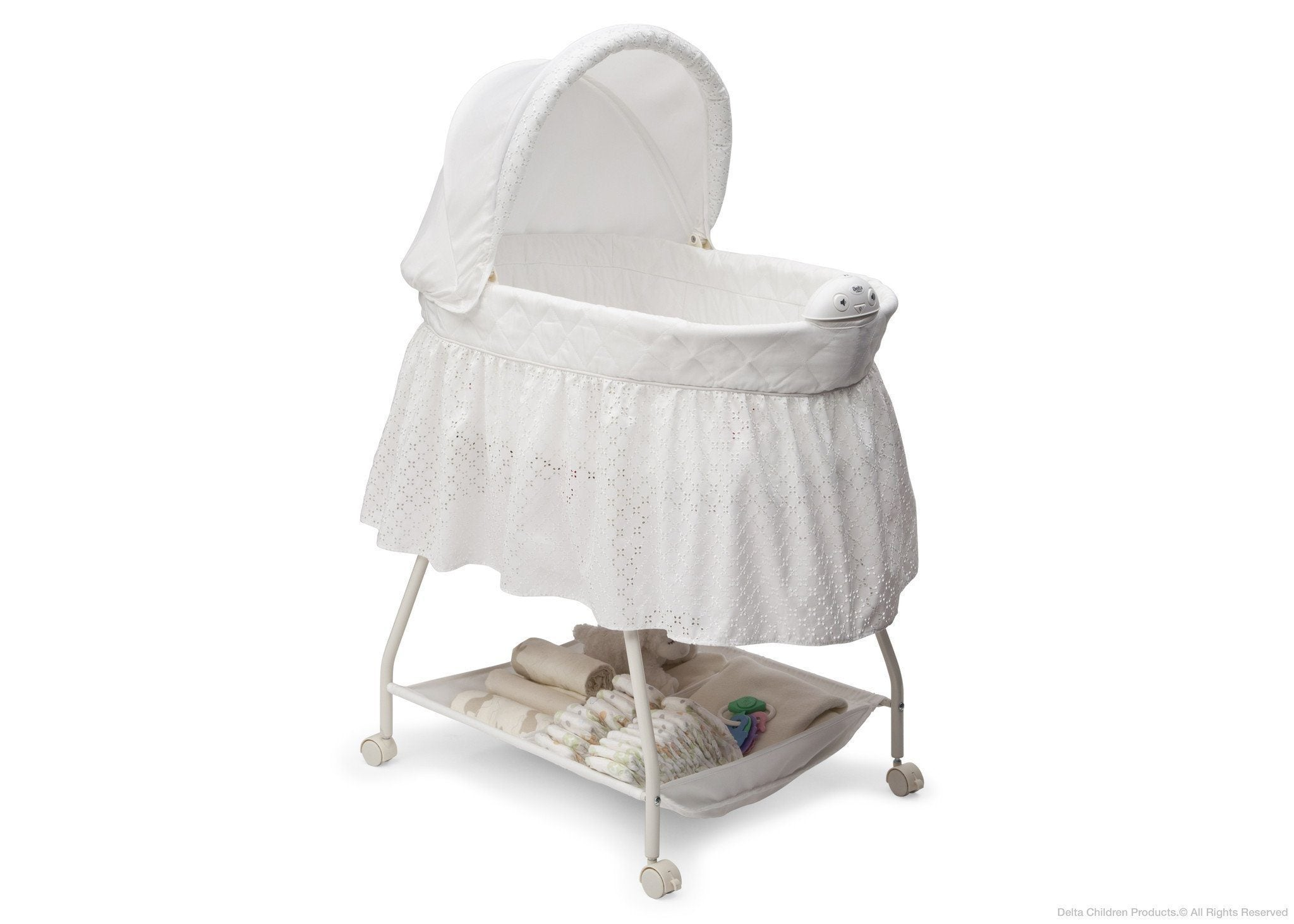 Delta Children Turtle Dove (113) Deluxe Sweet Beginnings Bassinet, Side View a1a