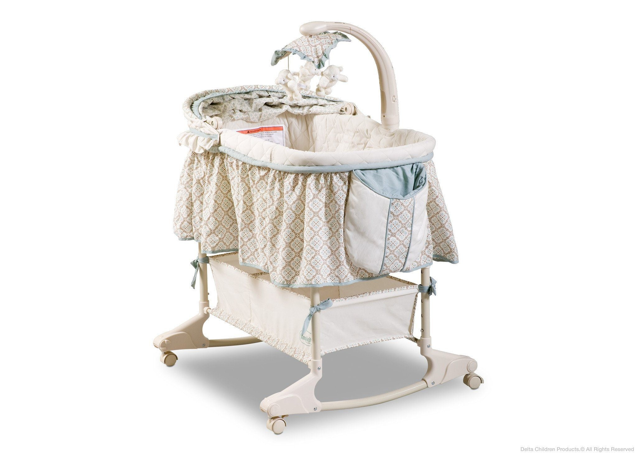Delta Children Clayton (020) Rocking Bassinet Left Side View Canopy Option 2 a2a