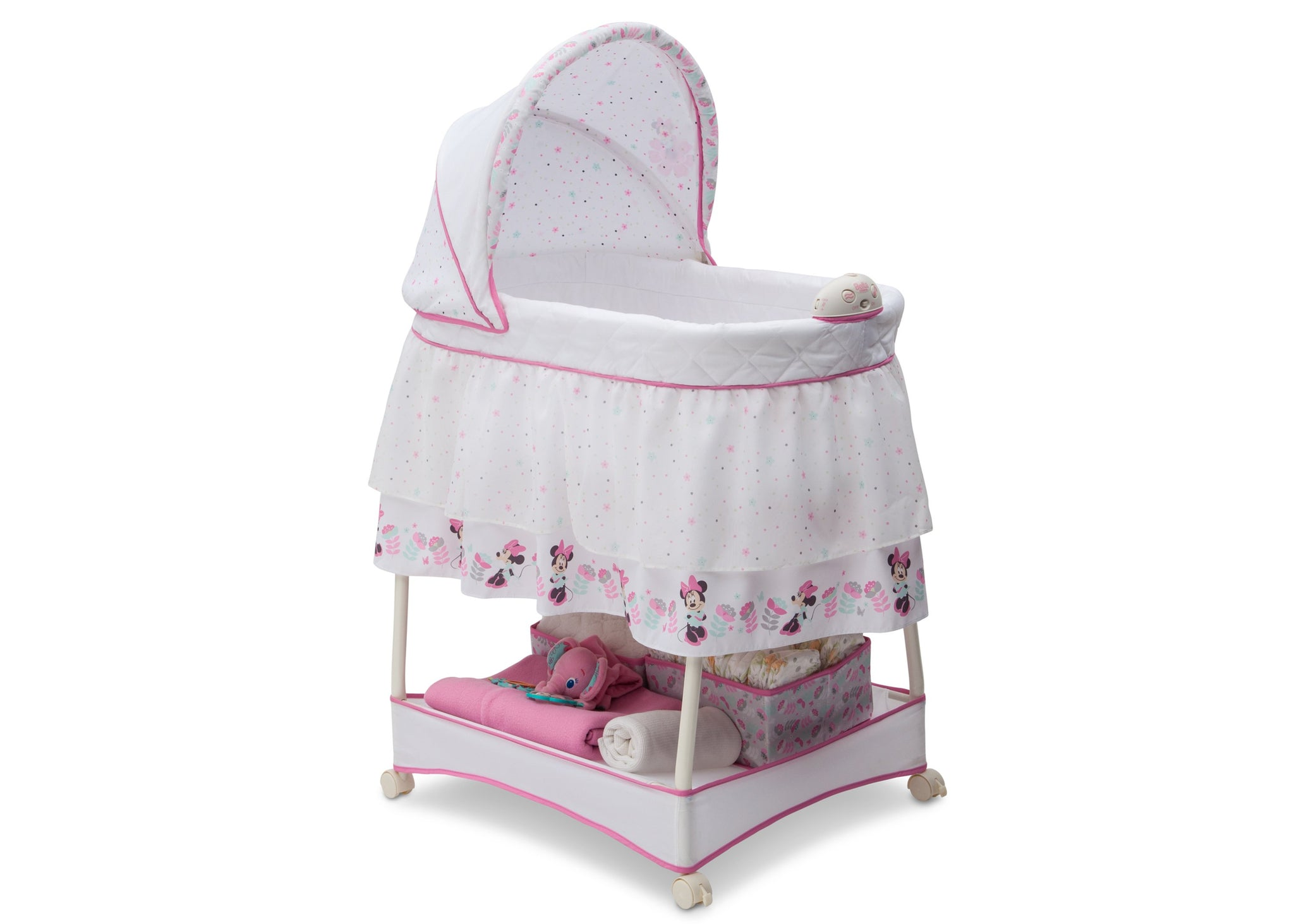 Delta Children Minnie Boutique (668) Ultimate Sweet Beginnings Bassinet (27202) Right Silo, a1a
